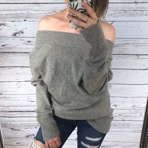 Ann Taylor Grey Off Shoulder Cashmere Knit Sweater